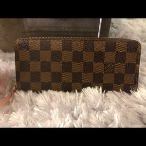 Louis Vuitton Clemence Damier Ebene Wallet Rose